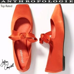 JEFFREY CAMPBELL ANTHRO Bow Squared-Toe Flats RARE